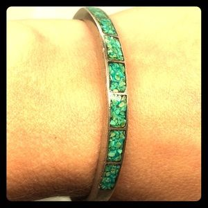 Vintage Navajo Silver Turquoise Cuff Bracelet